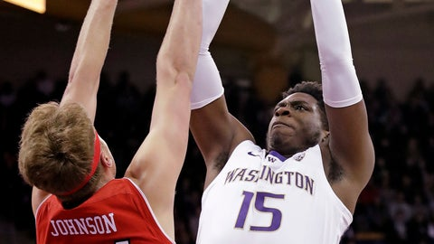 <p>               Washington's Noah Dickerson (15) shoots over Utah's Jayce Johnson during the first half of an NCAA college basketball game Wednesday, Feb. 20, 2019, in Seattle. (AP Photo/Elaine Thompson)             </p>