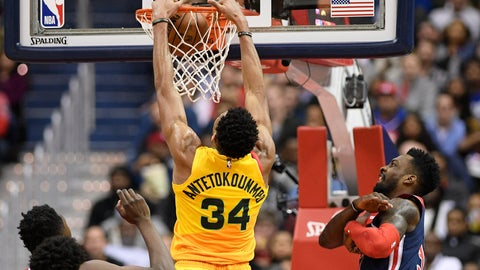 <p>               Milwaukee Bucks forward Giannis Antetokounmpo (34) dunks against Washington Wizards forward Jeff Green, right, during the first half of an NBA basketball game, Saturday, Feb. 2, 2019, in Washington. Green was called for a foul on the play. (AP Photo/Nick Wass)             </p>