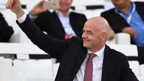 <p>               FIFA President Gianni Infantino smiles prior the AFC Asian Cup final match between Japan and Qatar in Zayed Sport City in Abu Dhabi, United Arab Emirates, Friday, Feb. 1, 2019. (AP Photo/Hassan Ammar)             </p>