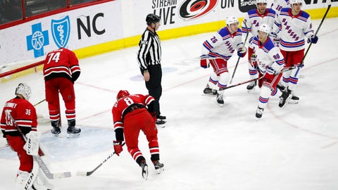 <p>               New York Rangers' Vladislav Namestnikov (90) of Russia, celebrates his goal, which proved to be the game winner, with Jimmy Vesey (26), Tony DeAngelo (77) and Pavel Buchnevich (89) of Russia during the third period of an NHL hockey game in Raleigh, N.C., Tuesday, Feb. 19, 2019. Dejected Carolina Hurricanes are Curtis McElhinney (35), Jaccob Slavin (74) and Saku Maenalanen (8) of Finland. (AP Photo/Chris Seward)             </p>