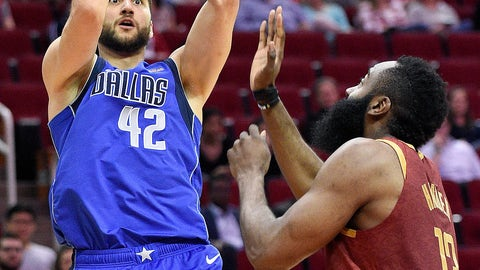<p>               Dallas Mavericks forward Maximilian Kleber (42) shoots as Houston Rockets guard James Harden defends during the first half of an NBA basketball game, Monday, Feb. 11, 2019, in Houston. (AP Photo/Eric Christian Smith)             </p>