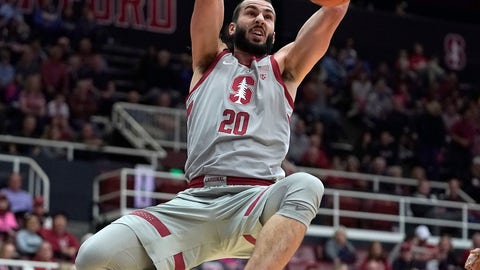 <p>               Stanford center Josh Sharma (20) dunks against UCLA during the second half of an NCAA college basketball game Saturday, Feb. 16, 2019, in Stanford, Calif. (AP Photo/Tony Avelar)             </p>