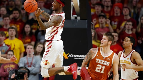 <p>               Iowa State forward Zoran Talley Jr. grabs a rebound over Texas forward Dylan Osetkowski (21) during the first half of an NCAA college basketball game, Saturday, Feb. 2, 2019, in Ames, Iowa. (AP Photo/Charlie Neibergall)             </p>
