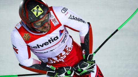 <p>               Austria's Marcel Hirscher gets to the finish area after completing the men's giant slalom, at the alpine ski World Championships in Are, Sweden, Friday, Feb. 15, 2019. (AP Photo/Marco Trovati)             </p>