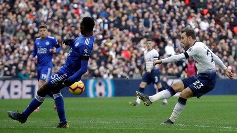 <p>               Tottenham Hotspur's Christian Eriksen scores his side's second goal during the English Premier League soccer match between Tottenham Hotspur and Leicester City at Wembley stadium in London, Sunday, Feb. 10, 2019. (AP Photo/Matt Dunham)             </p>