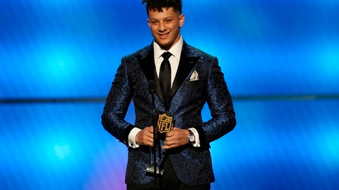 <p>               Patrick Mahomes of the Kansas City Chiefs accepts the award for AP offensive player of the year at the 8th Annual NFL Honors at The Fox Theatre on Saturday, Feb. 2, 2019, in Atlanta. (Photo by Paul Abell/Invision for NFL/AP Images)             </p>