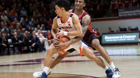 <p>               Virginia Tech defender Nickel Alexander-Walker,right, tries to knock ball away from Virginia guard Kihei Clark, left, during the first half of an NCAA college basketball game in Blacksburg, Va., Monday, Feb. 18, 2019.(AP Photo/Lee Luther Jr.)             </p>