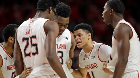 <p>               FILE - In this Tuesday, Feb. 12, 2019, file photo, Maryland guard Anthony Cowan Jr. (1) huddles with teammates, from left, Eric Ayala, Jalen Smith, Bruno Fernando and Darryl Morsell during the second half of an NCAA college basketball game against Purdue in College Park, Md. Extremely young and doggedly determined, Maryland has used a long-awaited growth spurt to move into the upper tier of the Big Ten standings(AP Photo/Patrick Semansky, File)             </p>