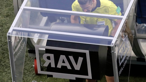 <p>               FILE - In this Friday, June 22, 2018 file photo, referee Matt Conger from New Zealand watches the Video Assistant Referee system, known as VAR during the group D match between Nigeria and Iceland at the 2018 soccer World Cup in the Volgograd Arena in Volgograd, Russia. Women's World Cup referees are undergoing training with VARs over the next two weeks, The Associated Press has learned, paving the way for the FIFA Council to approve the use of video reviews at this year's tournament in France. (AP Photo/Themba Hadebe, File)             </p>