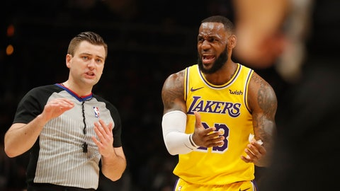 <p>               Los Angeles Lakers forward LeBron James (23) argues with an official during the first half of an NBA basketball game against the Atlanta Hawks Tuesday, Feb. 12, 2019, in Atlanta. (AP Photo/John Bazemore)             </p>