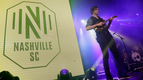 <p>               A band performs as the logo of the Nashville Soccer Club is displayed at the unveiling of the MLS team's name, logo and colors Wednesday, Feb. 20, 2019, in Nashville, Tenn. The expansion franchise is due to start play in 2020. (AP Photo/Mark Humphrey)             </p>