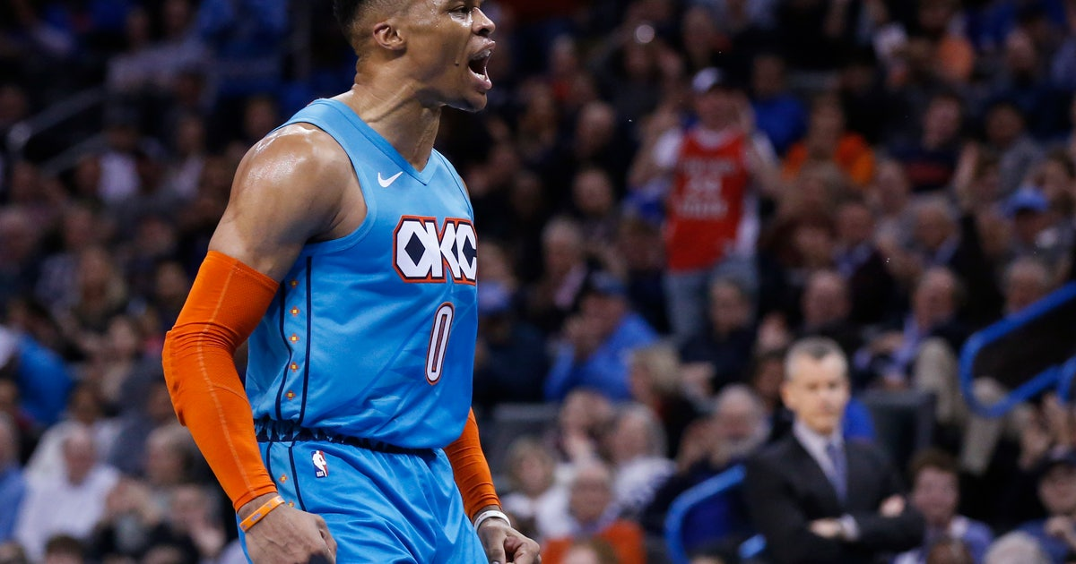 02101ee44215 Westbrook s 7th straight triple-double leads OKC past Magic
