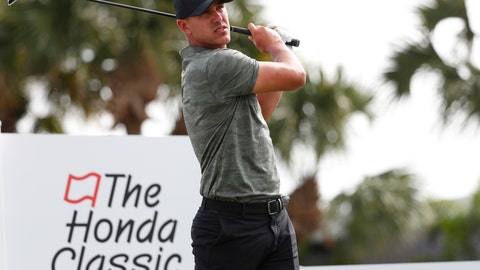 <p>               Brooks Koepka tees off on the fourth hole during the Pro-Am of the Honda Classic golf tournament, Wednesday, Feb. 27, 2019, in Palm Beach Gardens, Fla. (AP Photo/Wilfredo Lee)             </p>
