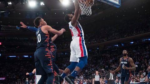 <p>               Detroit Pistons center Andre Drummond dunks during the first half of an NBA basketball game against the New York Knicks, Tuesday, Feb. 5, 2019, at Madison Square Garden in New York. (AP Photo/Mary Altaffer)             </p>