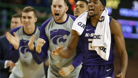 <p>               Kansas State guard Cartier Diarra, right, reacts to a score against Baylor in the second half of an NCAA college basketball game, Saturday, Feb. 9, 2019, in Waco, Texas. (Rod Aydelotte/Waco Tribune Herald, via AP)             </p>