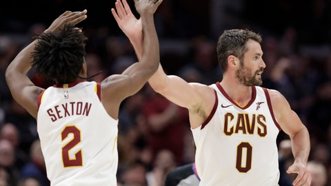 <p>               Cleveland Cavaliers' Kevin Love (0) and Collin Sexton (2) celebrate in the second half of an NBA basketball game against the Memphis Grizzlies, Saturday, Feb. 23, 2019, in Cleveland. The Cavaliers won 112-107. (AP Photo/Tony Dejak)             </p>