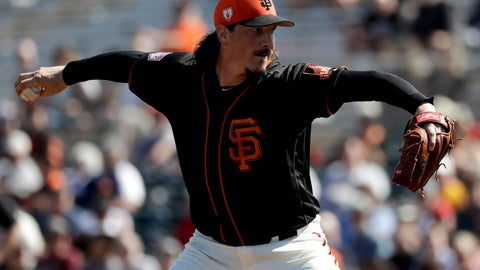 <p>               San Francisco Giants starting pitcher Jeff Samardzija throws against the Kansas City Royals during first inning of a spring baseball game in Scottsdale, Ariz., Wednesday, Feb. 27, 2019. (AP Photo/Chris Carlson)             </p>