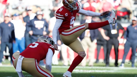 <p>               FILE - In this Dec. 23, 2018, file photo, San Francisco 49ers kicker Robbie Gould (9) kicks a field goal from the hold of Bradley Pinion during the first half of an NFL football game against the Chicago Bears, in Santa Clara, Calif. The S49ers have placed the franchise tag on kicker Robbie Gould. The Niners made the move Tuesday, Feb. 26, 2019, to keep Gould in 2019 for a price tag of about $5 million. (AP Photo/Tony Avelar, File)             </p>