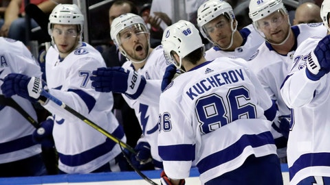 <p>               Tampa Bay Lightning right wing Nikita Kucherov (86) is congratulated after scoring a goal during the first period of an NHL hockey game against the Florida Panthers, Sunday, Feb. 10, 2019, in Sunrise, Fla. (AP Photo/Lynne Sladky)             </p>