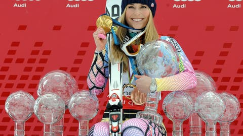 <p>               FILE - In this Saturday, March 13, 2010 file photo Lindsey Vonn, of the United States, poses with all the Olympic medals and Women's World Cup skiing trophies she won in her career, in Garmisch-Partenkirchen, Germany. (AP Photo/Giovanni Auletta, File)             </p>