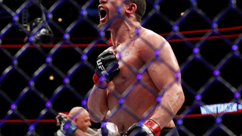 <p>               FILE - In this June 10, 2018, file photo, Robert Whittaker reacts after his middleweight mixed martial arts title bout against Yoel Romero at UFC 225 in Chicago. Whittaker defends his UFC middleweight title against Kelvin Gastelum in the main event of UFC 234 in Melbourne, Australia, on Sunday. (AP Photo/Jim Young, File)             </p>