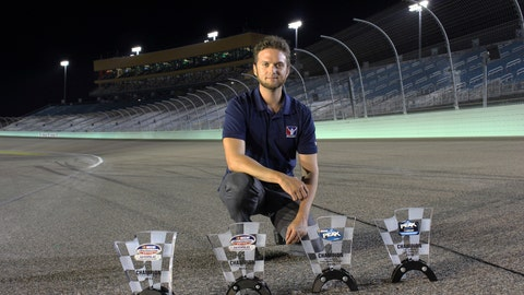 <p>               This Nov. 18, 2018, photo provided by Bryan Blackford and Snowcone Productions shows Ray Alfalla with his awards on the track at Homestead-Miami Speedway in Homestead, Fla. Alfalla is in the elite class of drivers who have mastered virtual iRacing, an online simulation of the real deal each week in NASCAR. (Bryan Blackford/Snowcone Productions via AP)             </p>