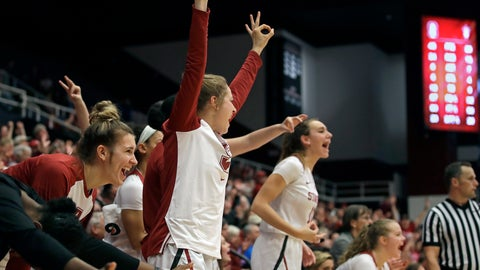 <p>               Players on the Stanford bench celebrate a score against Arizona State in the second half of an NCAA college basketball game Sunday, Feb. 24, 2019, in Stanford, Calif. (AP Photo/Ben Margot)             </p>