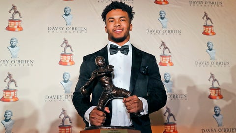 <p>               FILE - In this Feb. 18, 2019, file photo, Heisman Trophy winning quarterback Kyler Murray poses with the Davey O'Brien football award, in Fort Worth, Texas. Murray's measurements were among the most anticipated at this year's NFL scouting combine after he spurned the Oakland Athletics and a career in Major League Baseball for a shot at the NFL.  (AP Photo/LM Otero, File)             </p>