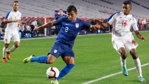 <p>               FILE - In this Sunday, Jan. 27, 2019, file photo, United States defender Nick Lima (2) gets set to kick the ball as Panama midfielder Edson Samms (16) and defends during the second half of an international friendly soccer game in Phoenix. A new coach with a new system brings new opportunities for several players looking to make the most of that chance for the U.S. men's national soccer team. Lima seized that moment in his national team debut against Panama in the first game under new U.S. coach Gregg Berhalter and looks to build on that Saturday when the Americans complete their January camp with a game against Costa Rica at Avaya Stadium. (AP Photo/Ross D. Franklin, File)             </p>