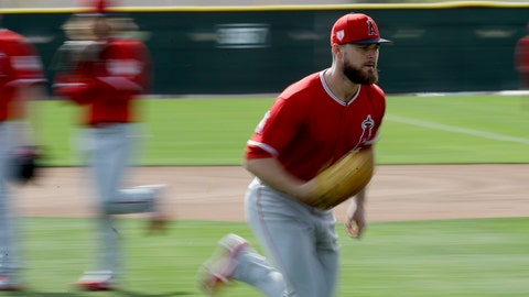 <p>               In this image taken with a slow shutter, Los Angeles Angels Jared Walsh runs during a drill at spring training baseball in Tempe, Ariz., Friday, Feb. 15, 2019. (AP Photo/Chris Carlson)             </p>