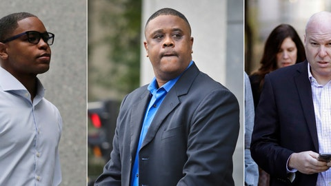 <p>               FILE - At left, in an Oct. 1, 2018, file photo, Christian Dawkins arrives at federal court in New York. At center, in an Oct. 24, 2018, file photo, former amateur basketball league director Merl Code leaves federal court in New York. At right, in an Oct. 18, 2018, file photo, former Adidas executive James Gatto arrives at federal court in New York.  Federal prosecutors have recommended multiyear prison sentences for three men convicted of fraud for channeling secret payments to the families of top-tier basketball recruits to influence where the players went to school. Former Adidas executive James Gatto, business manager Christian Dawkins and amateur league director Merl Code were convicted of conspiracy to commit wire fraud in October for funneling recruits to Louisville, Kansas and North Carolina State. On Wednesday, Feb. 27, 2019, prosecutors in the Southern District of New York recommended a sentence of 46 to 57 months for Gatto and 30 to 37 months in prison for Code and Dawkins. They are scheduled to be sentenced next week. (AP Photo/File)             </p>