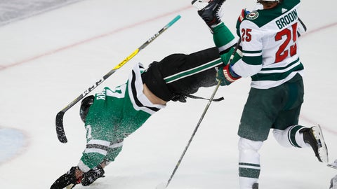 <p>               Dallas Stars right wing Alexander Radulov (47) is knocked off his feet by Minnesota Wild defenseman Jonas Brodin (25) during the first period of an NHL hockey game in Dallas, Friday, Feb. 1, 2019. (AP Photo/LM Otero)             </p>