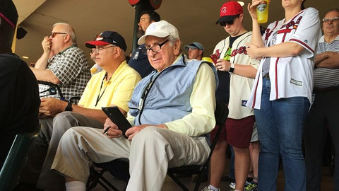 """<p>               FILE - In this March 5, 2016, file photo, Tommy Giordano, special assistant to the general manager of the Atlanta Braves, scouts a spring training baseball game between the Braves and the Pittsburgh Pirates, in Kissimmee, Fla.  """"I'm going to do this until I die,"""" Giordano told me back in 2016, when I first met him at the Braves' spring training complex, located within the confines of Disney World. """"I can't wait to get up in the morning and go to the ballpark."""" (AP Photo/Paul Newberry, File)             </p>"""