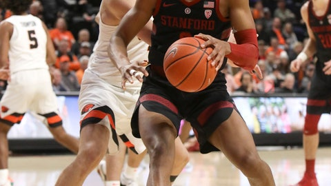 <p>               Stanford's KZ Okpala (0) pivots past Oregon State's Tres Tinkle during the first half of an NCAA college basketball game in Corvallis, Ore., Thursday, Feb. 7, 2019. (AP Photo/Amanda Loman)             </p>