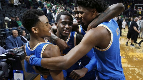 <p>               FILE - In this Jan. 10, 2019, file photo, UCLA's Jaylen Hands, left, Prince Ali, Kris Wilkes and Chris Smith celebrate after UCLA defeated Oregon in an NCAA college basketball game in Eugene, Ore. After many starts and stops, the Bruins appear to be on the upswing behind sophomore guard Hands'leadership, along with sophomore Wilkes and freshman Jules Bernard. (AP Photo/Chris Pietsch, File)             </p>