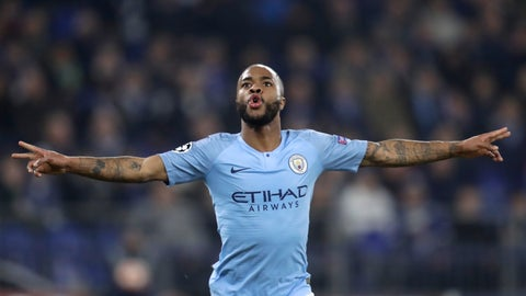 <p>               Manchester City forward Raheem Sterling celebrates scoring his side's third goal putting the final score at a 3-2 win for his team during the first leg, round of sixteen, Champions League soccer match between Schalke 04 and Manchester City at Veltins Arena in Gelsenkirchen, Germany, Wednesday Feb. 20, 2019. (AP Photo/Michael Probst)             </p>