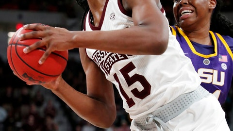 <p>               Mississippi State center Teaira McCowan (15) draws aim for a layup as she drives past LSU center Faustine Aifuwa, during the first half of an NCAA college basketball game in Starkville, Miss., Thursday, Feb. 28, 2019. (AP Photo/Rogelio V. Solis)             </p>