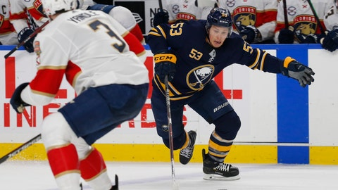 <p>               FILE - In this Jan. 3, 2019, file photo, Buffalo Sabres forward Jeff Skinner (53) skates past Florida Panthers defenseman Keith Yandle (3) during the third period of an NHL hockey game in Buffalo N.Y. Skinner if fully aware how much the Sabres and their playoff-starved fans want him to stay in Buffalo beyond this season. (AP Photo/Jeffrey T. Barnes, File)             </p>