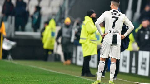 <p>               Juventus' Cristiano Ronaldo reacts during the Serie A soccer match Juventus and Parma at the Allianz stadium in Turin, Italy, Saturday, Feb. 2, 2019. (Alessandro Di Marco/ANSA via AP)             </p>