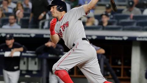 <p>               FILE - In this Sept. 18, 2018, file photo, Boston Red Sox's Ian Kinsler follows through on a single during the third inning of a baseball game against the New York Yankees, in New York. Fresh off his first World Series title in his 13-year career, Kinsler is ready to embark on a new chapter of his big league career with the San Diego Padres.(AP Photo/Frank Franklin II, File)             </p>