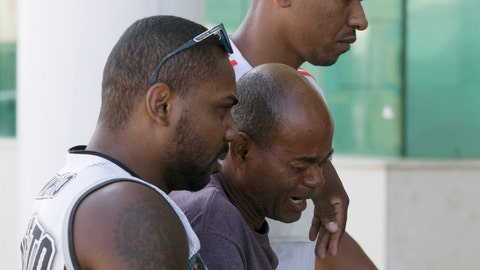 <p>               Sebastiao Rodrigues, center, uncle of soccer player Samuel Rosa, one of the victims of a fire at a Brazilian soccer academy, grieves as he enters at a hotel in Rio de Janeiro, Brazil, Saturday, Feb. 9, 2019. A fire early Friday swept through the sleeping quarters of an academy for Brazil's popular professional soccer club Flamengo, killing 10 people and injuring three, most likely teenage players, authorities said. (AP Photo/Leo Correa)             </p>