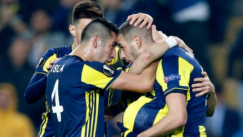 <p>               Fenerbahce players celebrate their goal against Zenit St. Petersburg during the Europa League round of 32 soccer match between Fenerbahce and Zenit, in Istanbul, Tuesday, Feb. 12, 2019. (AP Photo/Lefteris Pitarakis)             </p>