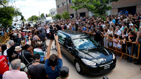 <p>               The car carrying the remains of Emiliano Sala leaves Progreso, Argentina, Saturday, Feb. 16, 2019. The Argentina-born forward died in an airplane crash in the English Channel last month when flying from Nantes in France to start his new career with English Premier League club Cardiff. (AP Photo/Natacha Pisarenko)             </p>