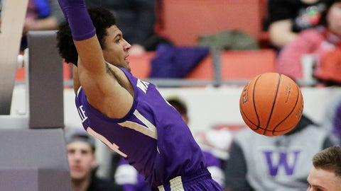 <p>               Washington guard Matisse Thybulle dunks during the first half of an NCAA college basketball game against Washington State in Pullman, Wash., Saturday, Feb. 16, 2019. (AP Photo/Young Kwak)             </p>