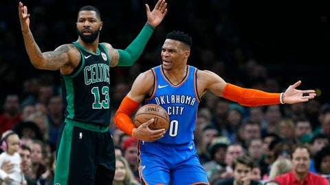 <p>               Oklahoma City Thunder's Russell Westbrook (0) protests a call beside Boston Celtics' Marcus Morris (13) during the first half of an NBA basketball game in Boston, Sunday, Feb. 3, 2019. (AP Photo/Michael Dwyer)             </p>