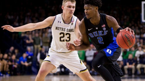 <p>               Duke's Cam Reddish (2) drives by Notre Dame's Dane Goodwin (23) during the first half of an NCAA college basketball game Monday, Jan. 28, 2019, in South Bend, Ind. (AP Photo/Robert Franklin)             </p>