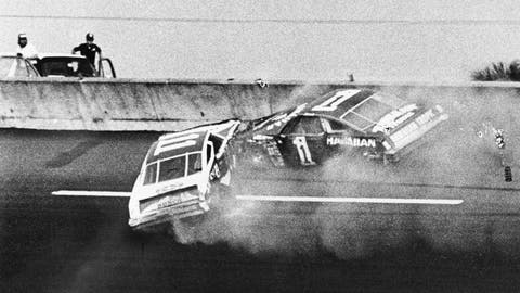 <p>               FILE - In this Feb. 18, 1979, file photo, Donnie Allison, in car 1, and Cale Yarborough, in car 11, crash on the last lap of the Daytona 500 which put Richard Petty in Victory Lane in Daytona Beach, Fla. Donnie Allison and his brother Bobby ended up in a fight with Cale Yarborough because of the wreck. The 1979 race was instrumental in broadening NASCAR's southern roots. Forty years later, it still resonates as one of the most important days in NASCAR history. (AP Photo/Ric Feld, File)             </p>
