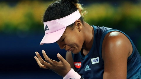 <p>               Naomi Osaka, of Japan, reacts during her match against Kristina Mladenovic, of France, at the Dubai Duty Free Tennis Championship in Dubai, United Arab Emirates, Tuesday, Feb. 19, 2019. (AP Photo/Kamran Jebreili)             </p>