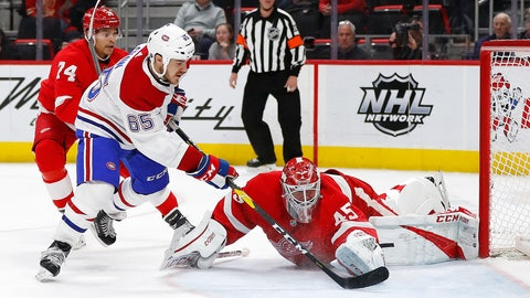 <p>               Montreal Canadiens right wing Andrew Shaw (65) scores on Detroit Red Wings goaltender Jonathan Bernier (45) in the third period of an NHL hockey game, Tuesday, Feb. 26, 2019, in Detroit. (AP Photo/Paul Sancya)             </p>