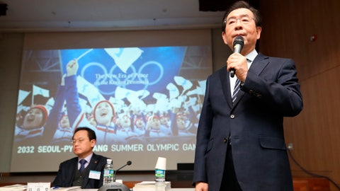 <p>               Seoul Mayor Park Won-soon, right, speaks during the Korean Sport & Olympic Committee general assembly at the National Training Center in Jincheon, South Korea, Monday, Feb. 11, 2019. South Korea has chosen its capital, Seoul, for its bid for the 2032 Summer Olympics, which it hopes to jointly host with rival North Korea as a peace gesture. (Kim In-chul/Yonhap via AP)             </p>